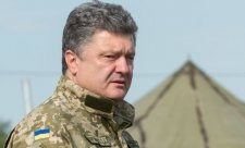 President of Ukraine Petro Poroshenko in the camp of the anti-terrorist operation in Kharkiv oblast..