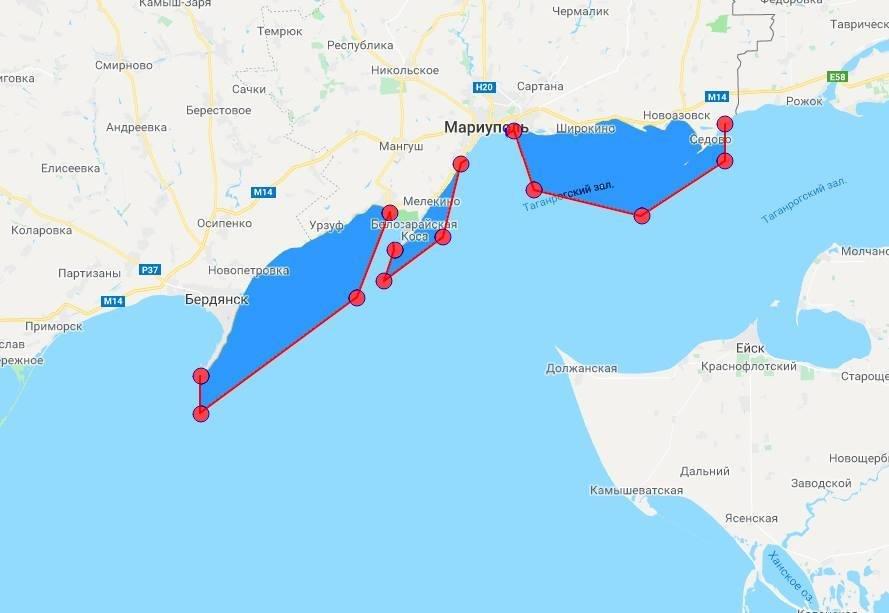 карта акватория азова